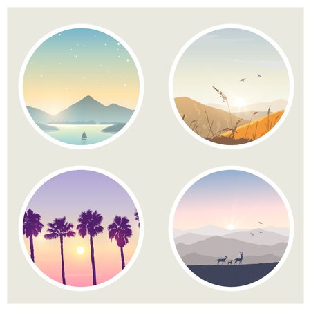 Set of amazing nature in circles. Vector illustration