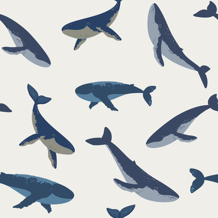Summer seamless pattern with beautiful whales. Cool wallpaper. Vector illustration Иллюстрация