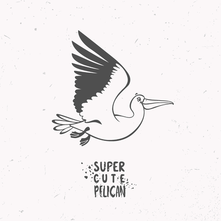 Silhouette of super cute and funny cartoon pelican. Character bird. Childrens illustration. Stylish vector illustration