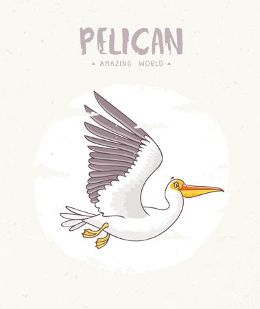 Super cute and funny cartoon pelican. Character bird. Childrens illustration. Stylish vector illustration