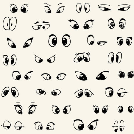 Super funny seamless pattern with cartoon eyes. Vector illustration