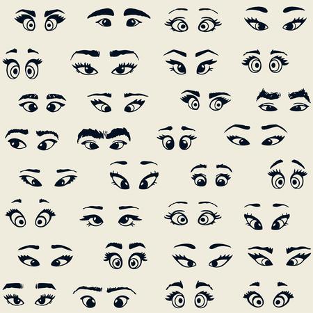 Super funny pattern with cartoon eyes. Vector illustration