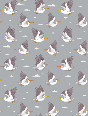 Seamless pattern with cute and funny cartoon pelican. Character bird. Childrens illustration. Stylish vector illustration