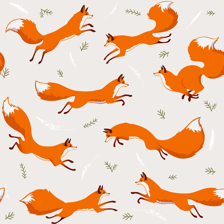 Beautiful seamless pattern with gorgeous foxs. Amazing wallpaper for your design. Vector illustration