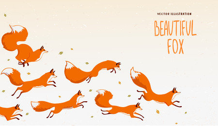 Beautiful background with gorgeous jumping foxs. Amazing wallpaper for your design. Vector illustration Vectores