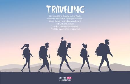 Silhouette of cartoon traveling people. Climbing on mountain. Vector illustration hiking and climbing team Иллюстрация