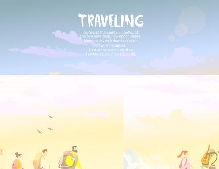 Personnage de dessin animé qui voyage. Escalade en montagne. Illustration vectorielle équipe de randonnée et d'escalade Vecteurs