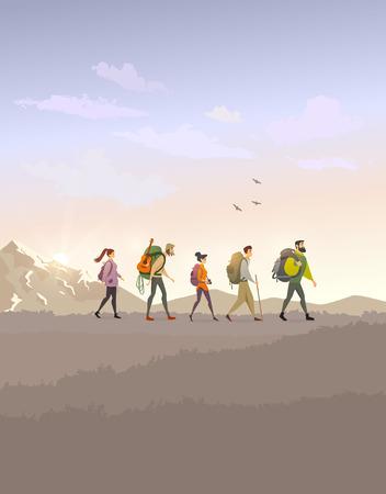 Trekking color Иллюстрация