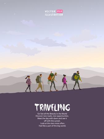 Personnage de dessin animé qui voyage. Escalade en montagne. Illustration vectorielle équipe de randonnée et d'escalade