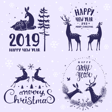 Amazing set for Merry Christmas and New Year design with stylized deers. Typography set. Vector logo, emblems, text design.