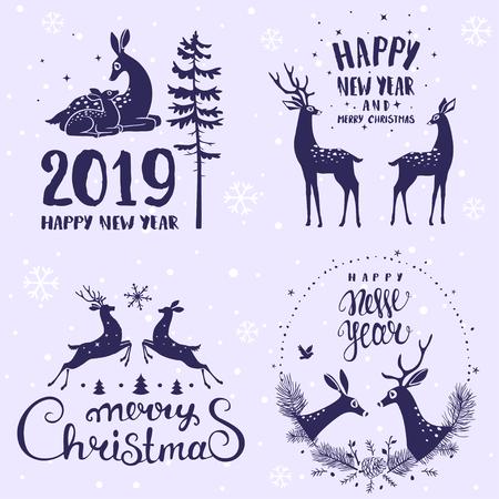 Increíble conjunto de diseño de Feliz Navidad y Año Nuevo con ciervos estilizados. Conjunto de tipografía. Vector logo, emblemas, diseño de texto. Logos