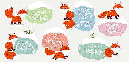 Beautiful winter sticker with funny cartoon foxes. Christmas and new year greeting card for your design. Vector illustration Иллюстрация