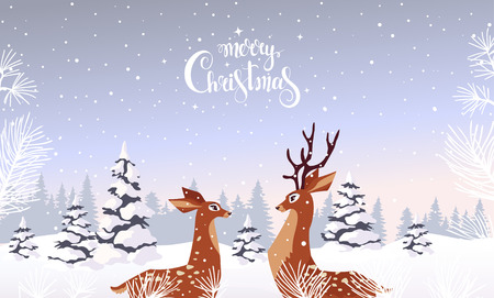 Amazing Christmas and New Year design with two stylized deers. Amazing winter holiday card. Vector illustration Иллюстрация