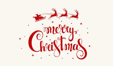 Hermosa y sorprendente inscripción de caligrafía-feliz Navidad con Santa Claus en un trineo y ciervos. Tarjeta de felicitación de Navidad. Ilustración vectorial Ilustración de vector