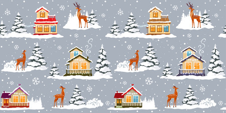 Beautiful christmas seamless pattern with beautiful houses and deer. Amazing winter holiday wallpaper for your design. Vector illustration Иллюстрация