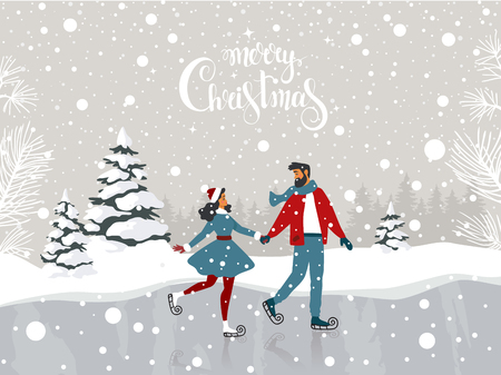 Amazing illustration for Christmas and New Year with couple on skating. Amazing winter holiday card. Vector illustration