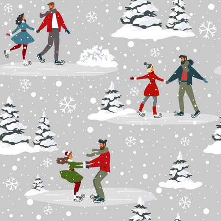 Amazing seamless pattern for Christmas and New Year with couples on skating. Amazing winter holiday card. Vector illustration Иллюстрация