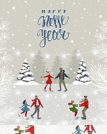 Amazing illustration for Christmas and New Year with couples on skating. Amazing winter holiday card. Vector illustration Иллюстрация