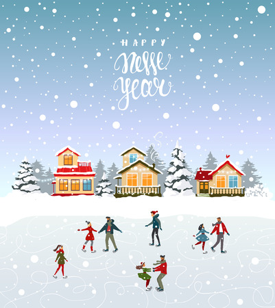 Amazing Christmas and New Year with couples on skating. Amazing winter holiday card. Vector illustration