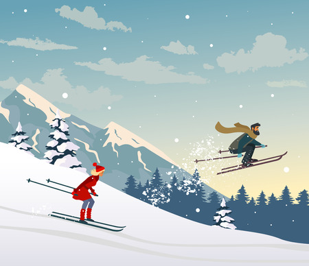 Couple skiing ride in mountain. Amazing Christmas and New Year winter holiday card. Vector illustration Иллюстрация