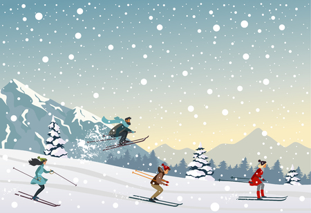people skiing ride in mountain. Amazing Christmas and New Year winter holiday card. Vector illustration