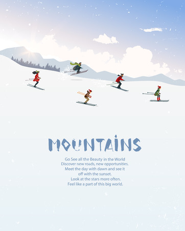People skiing ride in mountain. Vector illustration Illustration