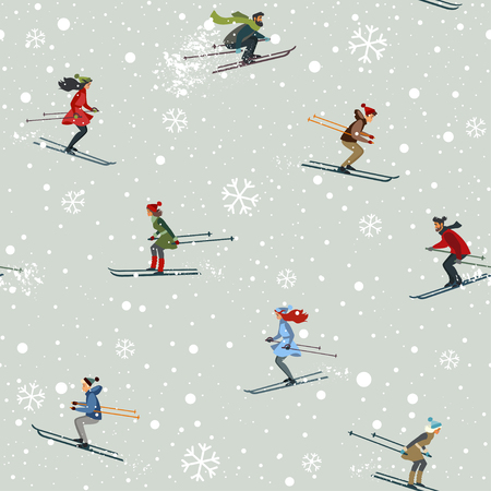 Amazing seamless pattern with people skiing ride in mountain. Winter holiday card. Vector illustration Banque d'images - 126991556
