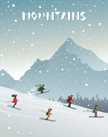 People skiing ride in mountain. Winter sport active life. Vector illustration Illustration