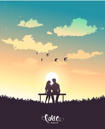 Happy Valentines Day illustration. Romantic silhouette of loving couple. Vector illustration