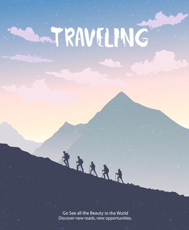 Silhouette de gens qui voyagent. Escalade en montagne. Illustration vectorielle équipe de randonnée et d'escalade