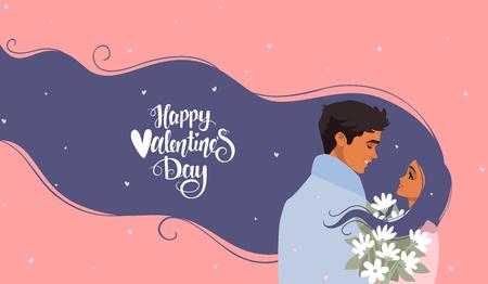 Happy Valentines Day 14 February illustration. Romantic happy loving couple. Vector illustration