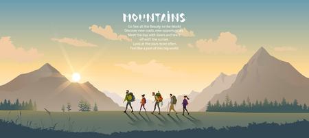 Personaggio dei cartoni animati che viaggiano persone. Arrampicata in montagna. Illustrazione vettoriale escursionismo e arrampicata squadra