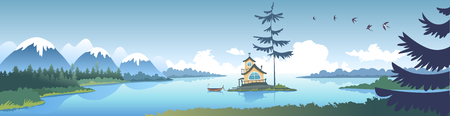 Amazing panoramic vie on a mountains and river with littel islant and house and big pine tree. Vector illustration