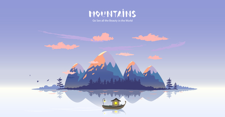 Amazing panoramic view on a cartoon mountains and lake at scenic sunset. Vector illustration