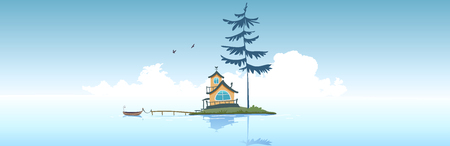 Amazing panoramic vie on asea with littel islant and house and big pine tree. Vector illustration Иллюстрация