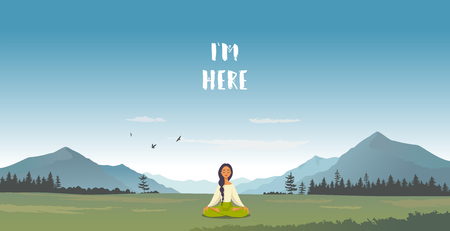 Amazing cartoon girl in yoga lotus practices meditation in mountains. Practice of yoga. Vector illustration. Young and happy woman meditating Иллюстрация