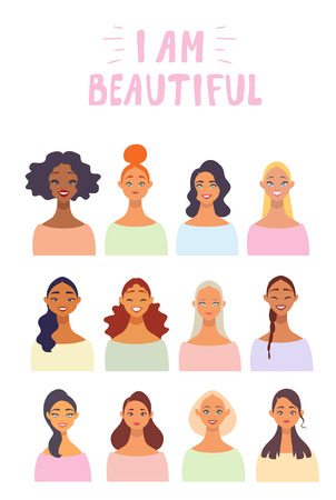 Charming young girls for Womens Day Party celebration. Vector illustration Иллюстрация