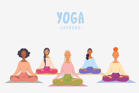 Charming cartoon girls in yoga lotus practices meditation. Practice of yoga. Vector illustration. Youngs and happy womans meditating