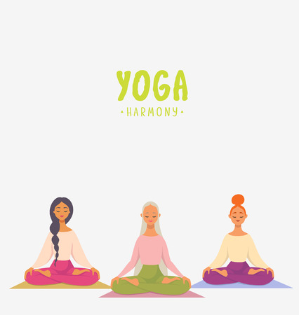 Amazing cartoon girls in yoga lotus practices meditation. Practice of yoga. Vector illustration. Youngs and happy womans meditating Vettoriali