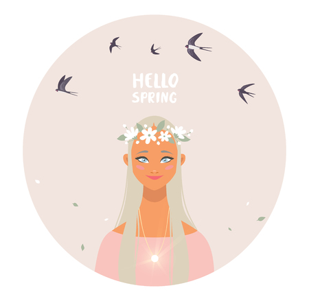 Gorgeous blonde lady with floral wreath and flying swallows. Vector illustration. Young and happy woman