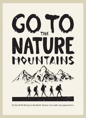 Affiche avec la silhouette des gens de la bande dessinée en voyage. Escalade en montagne. Illustration vectorielle équipe de randonnée et d'escalade