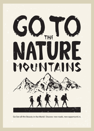 Poster with silhouette of traveling cartoon people. Climbing on mountain. Vector illustration hiking and climbing team