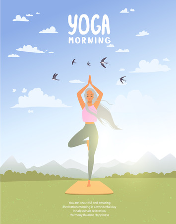 Amazing cartoon girl in yoga asana tree practices meditation on nature. Practice of yoga. Vector illustration. Young and happy woman
