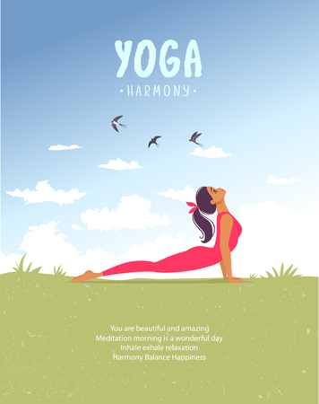 Amazing cartoon girl in yoga asana on nature. Practice of yoga. Vector illustration. Young and happy woman