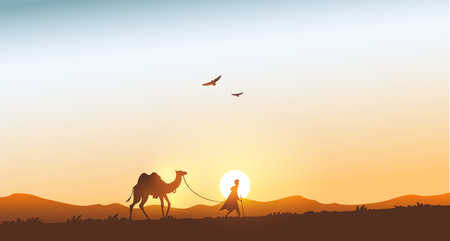 Silhouette traveling man with camel in the mountains at sunset. Vector illustration