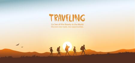 Silhouette reisenden Menschen. Klettern am Berg. Wanderndes und kletterndes Team der Vektorillustration Vektorgrafik