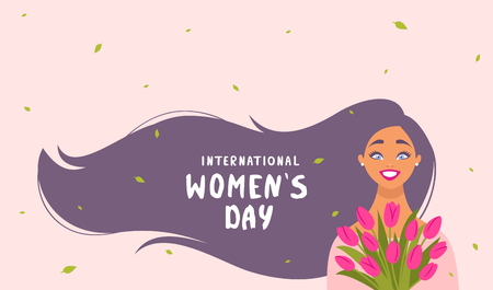 8 March, International Womens Day. Charming happy girl with long hair with sample text and flowers. Vector illustration Иллюстрация
