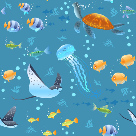 Sea Seamless pattern background with beautiful cartoon fish, turtle, and other swimming underwater. Cool wallpaper. Vector illustration Иллюстрация