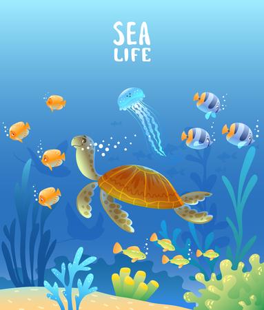 morski świat żółwia