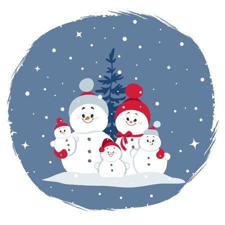 Merry Christmas and Happy New Year! Cartoon happy snowman family.